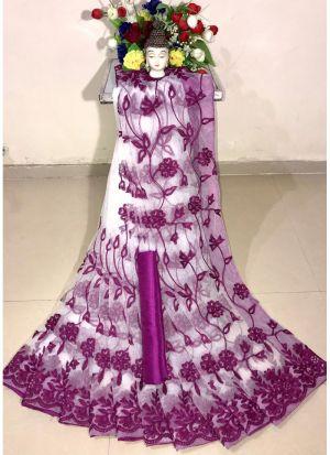 New Arrival Soft Net Purple Designer Saree
