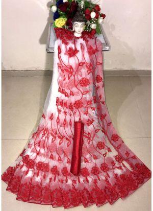 New Arrival Soft Net Red Designer Saree
