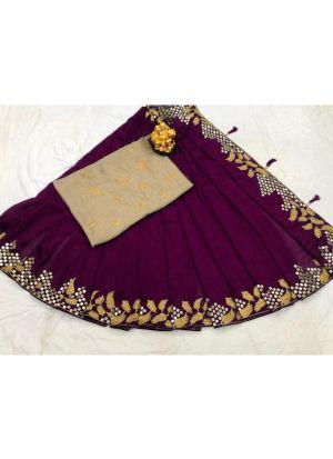 New Arrival Vichitra Silk Magenta Party Wear Designer Saree