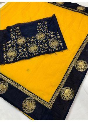 New Collection Chanderi Yellow Designer Saree