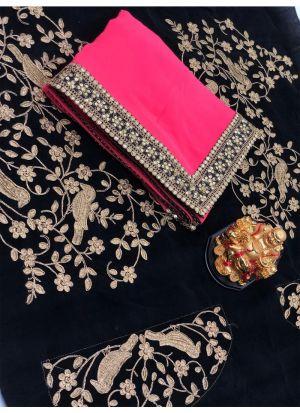 New Collection Georgette Rani Designer Saree