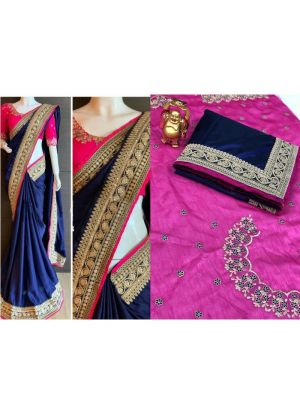 New Collection Paper Silk Navy Color Designer Saree