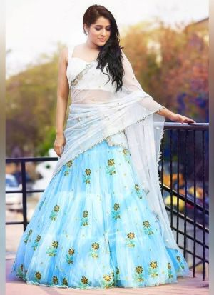 New Designer Sky Blue Ruffle Lehenga Choli
