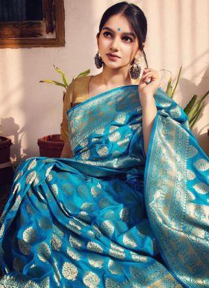 New Designer Turquoise Blue Banarasi Silk Saree