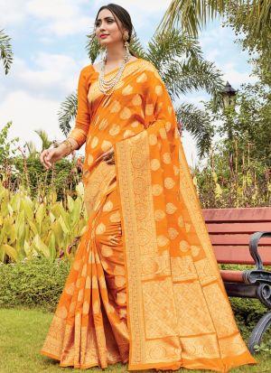 New Fancy Designer Orange Cotton Handloom Saree