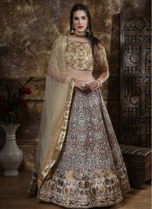 New Fancy Traditional Beige Color Lehenga Choli
