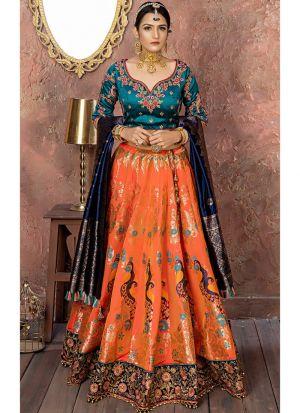 New Fancy Traditional Orange Pink Banarsi Silk Lehenga Choli