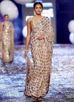 New Fashion Cream 60 Gm Georgette Saree