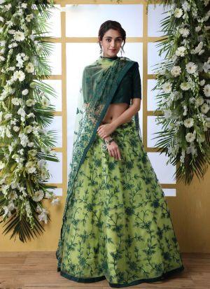 New Fashion Green Thread Work Lehenga Choli