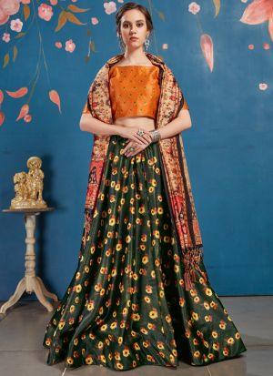 New Green Arrival Elegant Look Art Silk Lehenga Choli