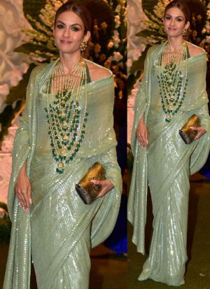 New Launch Green Party Wear Heavy Georgette Saree
