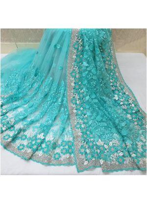 New Launching Heavy Naylon Net Firozi Traditional Designer Saree