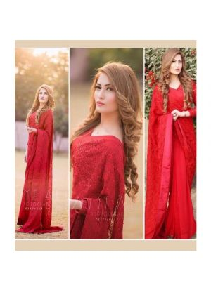New Launching Superhit Designer Bamberg Georgette Red Bollywood Saree Collection