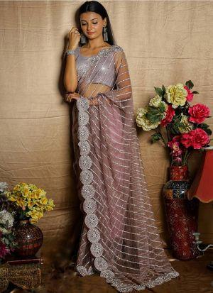 Newest Designer Light Purple Net Saree
