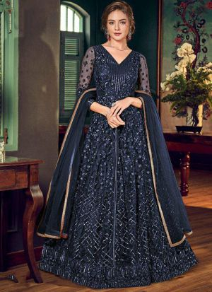 Newest Designer Navy Heavy Net Embroidered Gown