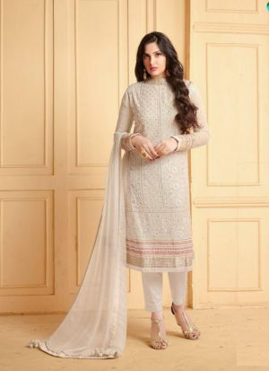 Newly Added White Faux Georgette Stone Work Salwar Suit