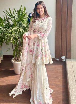 Newly Arrived White Party Wear Sharara Suit