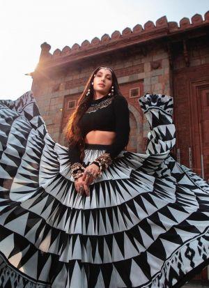 Nora Fatehi Black Printed Lehenga Choli