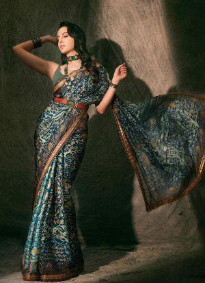Nora Fatehi Style Digital Print Teal Soft Silk Saree