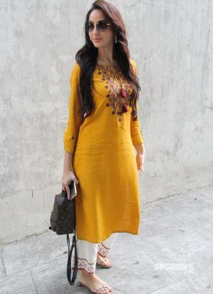 Nora Fatehi Style Yellow Multi Work Palazzo Suit