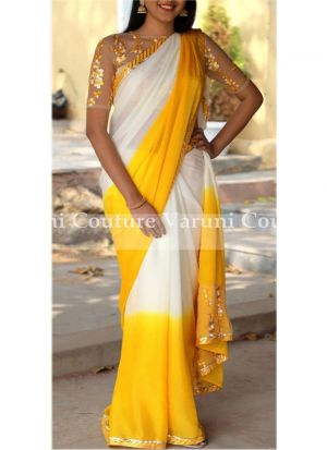 NX-276 Yellow 60 Gm Pedding Georgette Fancy Thread Work Classical Saree