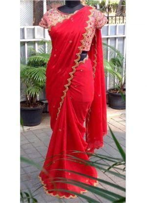 NX-284 Red Chiffon Georgette Fancy Thread Work Designer Saree