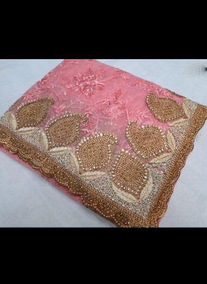Nylon Net Embroidered Pink Saree