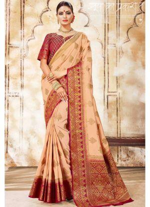 Nylon Silk Beige Party Wear Saree Collection