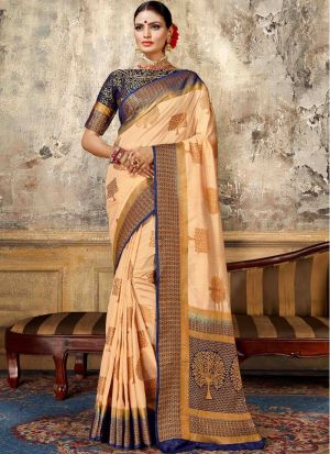 Nylon Silk Chiku Latest Wedding Saree Collections