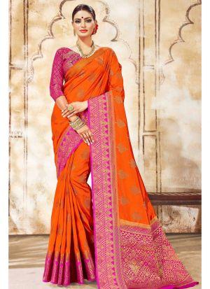 Nylon Silk Orange Traditional Wedding Saree Collection