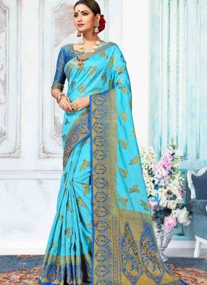 Nylon Silk Sky Blue Indian Wedding Saree Collection