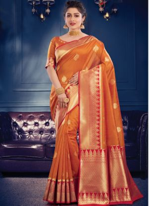 Occasion Wear Orange Banarasi Crystal Silk Saree