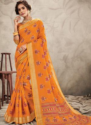 Occasion Wear Orange Chanderi Digital Printed Saree