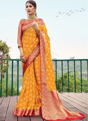 Occasion Wear Yellow Naylon Silk Zari Work Saree