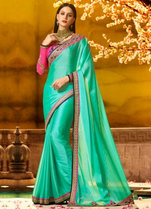 Occassionally Wear Aqua Green Rangoli Silk Saree