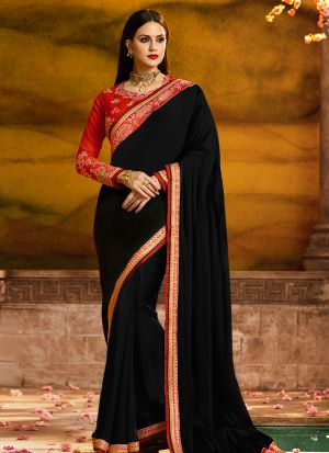Occassionally Wear Black Rangoli Silk Saree