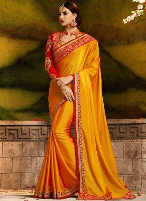 Occassionally Wear Golden Yellow Rangoli Silk Saree