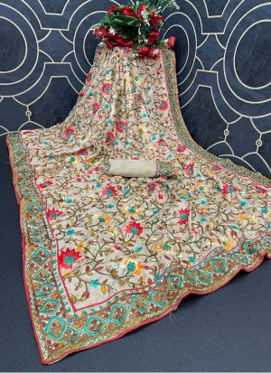 Off White Dola Silk Thread Work Saree