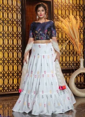 Off White Embroidered Cotton Lehenga Choli