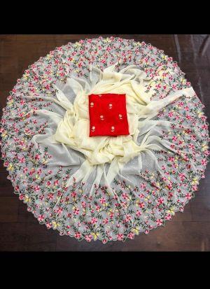 Off White Georgette Embroidery Saree