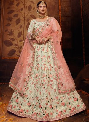 Off White Gota Thread Work Lehenga Choli With Fancy Dupatta