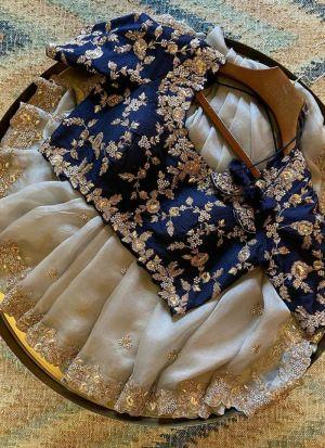 Off White Organza Wedding Wear Saree
