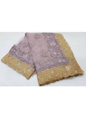 Onion Pandadi Shining Stone Hand Work Soft Net Wedding Traditional Saree With Blouse