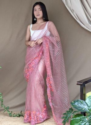 Onion Pink Soft Super Net Saree