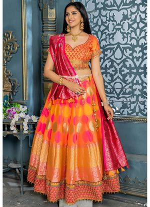 Orange Banarasi Silk Designer Lehenga Choli