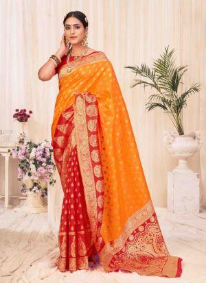 Orange Banarasi Silk Weaving Saree