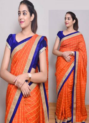 Orange Designer Checks Silk Saree With Lace Work
