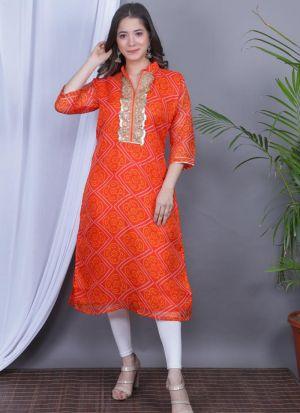 Orange Gota Pati Work Kurti For Women