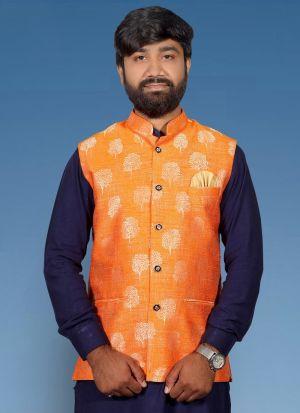Orange Jacquard Printed Koti For Men