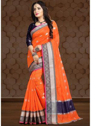 Orange Linen Fancy Designer Traditional Saree